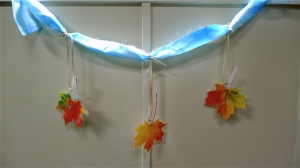 Scarf with Leaves Hanging