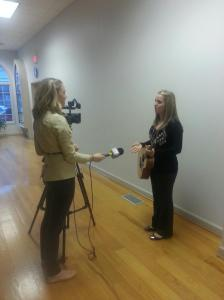 Me being interviewed by Winchester's local news channel at our presentation about music therapy in February!
